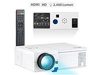 SceneLights LED-LCD-Beamer mit Media-Player, 1280 x 800 Pixel (HD) und 2.400 Lumen