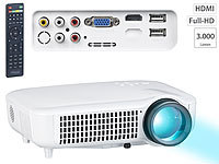 SceneLights Full HD LED-LCD-Beamer mit Media-Player, 1920 x 1080, 3.000 lm