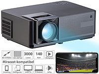 SceneLights LED-LCD-Beamer mit WLAN, Media-Player, 1280x800 Pixel (WXGA), 3.000 lm