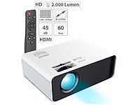 SceneLights LED-LCD-Beamer mit Mediaplayer, 1280 x 720 (HD), 2.000 lm, 60 Watt
